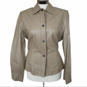 Women's Nine West beige leather jacket.